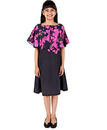 Silverthread Straight Knee Length Dress With A Cape In Beautiful Bougainville Print - Black