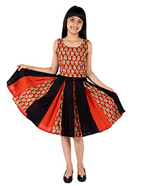 Silverthread Printed Dress With Kalis In Print - Red