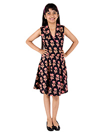 Silverthread Printed Dress In Angarakha Style With Plain Fusing - Black & Pink