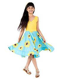 Silverthread Sunflower Printed Dress - Yellow & Blue