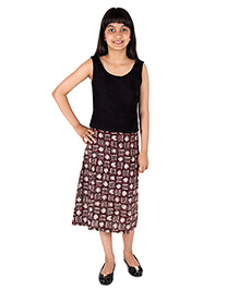 Silverthread Knee Length Pencil Skirt - Brown