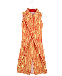 Silverthread Overlap Dress In Triangle Prints - Yellow & Red