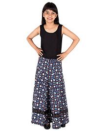Silverthread Umbrella Skirt In Jaipuri - Blue & Brown
