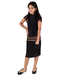 Silverthread Skirt & Top With Geometric Print - Black