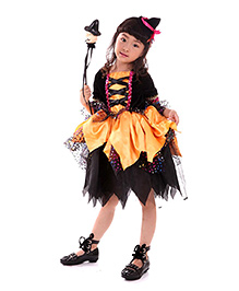 Pre Order - Superfie Halloween Girls Dress - Black & Orange