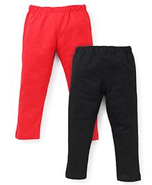 Babyhug Full Length Leggings Pack of 2 - Black Red