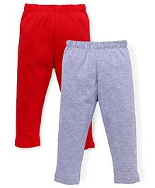 Babyhug Plain Solid Color Set Of 2 Bottoms - Red & Grey