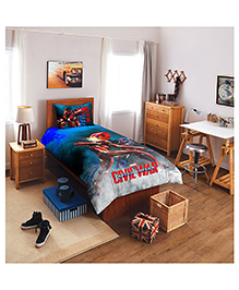 Spaces By Welspun Marvel Civil Wars Cotton Single Bedsheet With 1 Pillow Cover - Blue