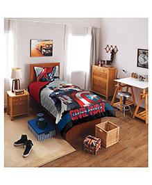 Spaces By Welspun Marvel Civil Wars Cotton Single Bedsheet With 1 Pillow Cover - Red