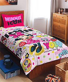 SPACES Disney Minnie Mouse Printed Cotton Kids Single Bedsheet With 1 Pillow Cover - Pink