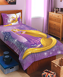 Spaces By Welspun Disney Rapunzel Cotton Single Bedsheet With 1 Pillow Cover - Lavender