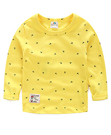 Mauve Collection Print T-Shirt For Autumn - Yellow