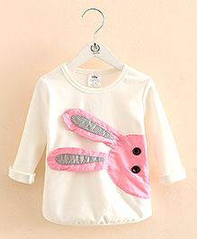 Mauve Collection Cute T-Shirt With Rabbit Patchwork - White