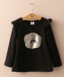 Mauve Collection Cute Long Autumn Top With Patch Work - Black
