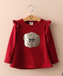 Mauve Collection Cute Long Autumn Top With Patch Work - Maroon