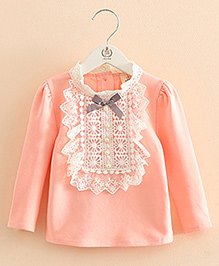 Pre Order - Mauve Collection Cute Lace And Pearl Top - Peach
