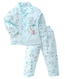 Pink Rabbit Full Sleeves Printed Night Suit  - Light Cyan