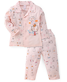 Pink Rabbit Full Sleeves Printed Night Suit  - Peach