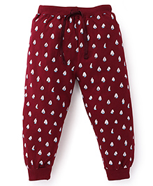 Fido Full Length Bottoms With Drawstring Ship Print - Maroon