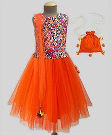 A.T.U.N Gardania Embroidered Lehenga Set With Free Potli - Orange