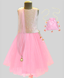 A.T.U.N Lace Embroidered Lehenga Set With Free Potli - Pink & Cream