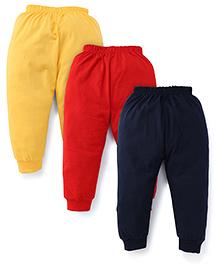 Paaple Full Length Leggings Pack of 3 - Yellow Red Navy