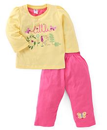 Paaple Full Sleeves Printed Top And Pajama - Yellow Pink