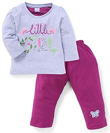 Paaple Full Sleeves Printed Top And Pajama - Grey Purple