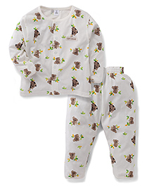 ToffyHouse Full Sleeves Night Suit Teddy Bear Print - Off White