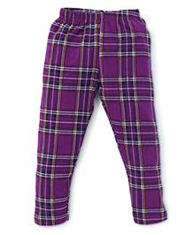 Ollypop Full Length Check Bottoms - Purple