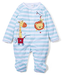 ToffyHouse Full Sleeves Footed Sleep Suit Animals Patch -  Blue White