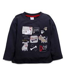 Ollypop Full Sleeves T-Shirt Puppy Print - Black