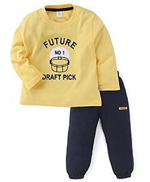 ToffyHouse Full Sleeves Future Embroidered T-Shirt And Bottom Set - Lemon & Navy
