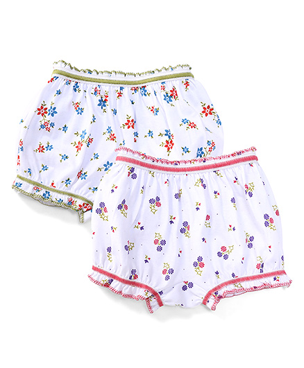 Babyhug Bloomers Pack Of 2 Floral Print - Green Pink White