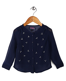 Vitamins Front Open Top Stone Embellish Detail - Navy Blue