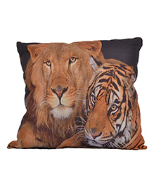 Twisha Lion And Tiger Printed Pillow - Light Brown
