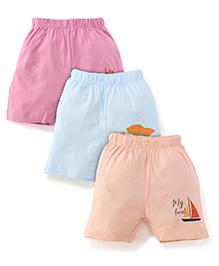 Ohms Shorts Multi Print Pack Of 3 - Peach Aqua Pink