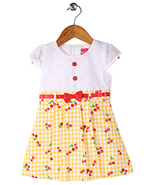 Enfance Checkered & Cherry Printed Dress With Shiny Lace Bow - White & Yellow