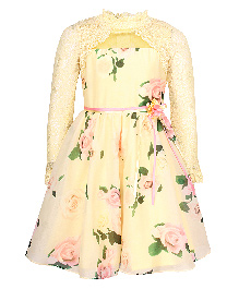 Cutecumber Full Sleeves Party Wear Frock Floral Print - Yellow