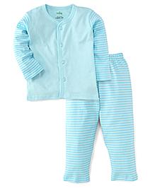 Babyhug Full Sleeves Stripe Night Suit - Sky Blue