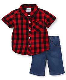 Babyhug Half Sleeves Checks Shirt And Jamaican Denims - Red Blue