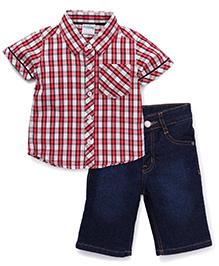 Babyhug Half Sleeves Checks Shirt And Jamaican Denims - Coral Dark Blue
