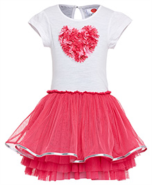 The Cranberry Club With Slower And Heart Applique Tutu Dress - Pink