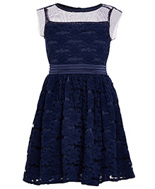 The Cranberry Club Lace Fabric Dress - Dark Blue