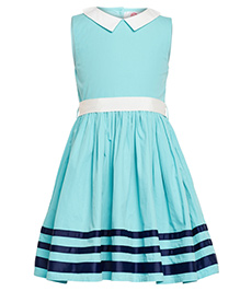 The Cranberry Club High Neck With Collar Dress - Blue