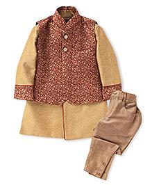 Robo Fry Indo Western Style Kurta And Pyjama With Jacket - Golden And Maroon