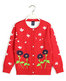 Pre Order - Superfie Floral Girls Cardigan - Red
