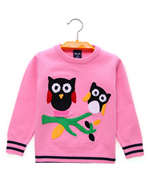 Pre Order - Superfie Owl Design Sweater - Pink