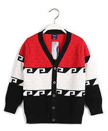 Pre Order - Superfie Colour Block Cardigan - Red & Black