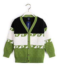 Pre Order - Superfie Colour Block Cardigan - Green & Black